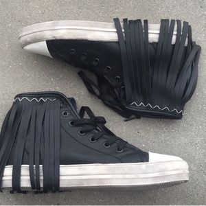 LF BLACK leather FRINGE SNEAKERS high tops lace up